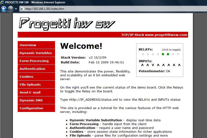 ethernet web server relays display browser